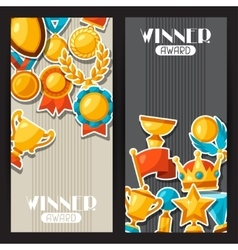 Sport or business award sticker icons banners vector image