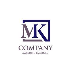 letter mk logo vector image vector image