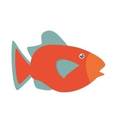 orange fish marine ecosystem life vector image