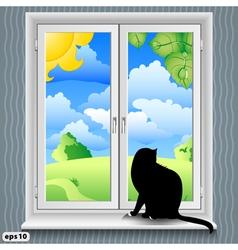 windowsill summer vector image vector image