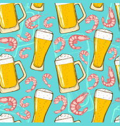 beer and shrimps seamless pattern vector image
