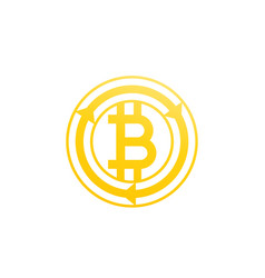 bitcoin exchange icon on white vector image vector image