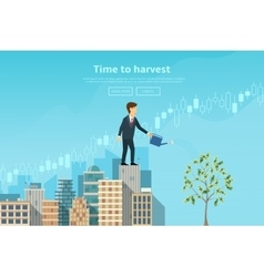 Businessman watering money tree from watering can vector image vector image