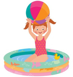 Girl in inflatable pool vector image vector image