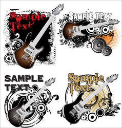 Grunge music banner - set vector image vector image