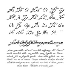 Handwritten calligraphic alphabet vector image