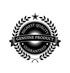 Highest Quality Guaranteed Genuine label vector image vector image
