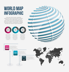 world map infographic chart communication globe vector image vector image