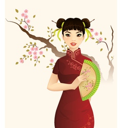 Beautiful Chinese Girl vector image vector image