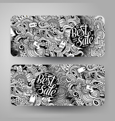 cartoon hand drawn doodles sale banners vector image