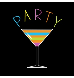 Colorful cocktail in martini glass Word Party Card vector image vector image
