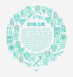 Dental clinic concept with thin line icons vector