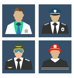doctor fireman policeman pilot portrait icon vector image vector image