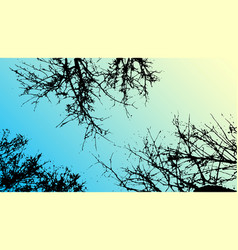 grass and tree landscape silhouette vector image vector image