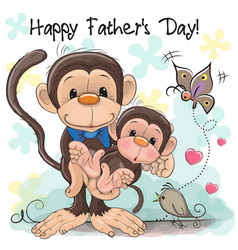 greeting card two monkeys a father and a baby vector image