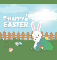 Happy easter greeting cardcute bunny vector