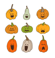 pumpkins with spooky faces vector image