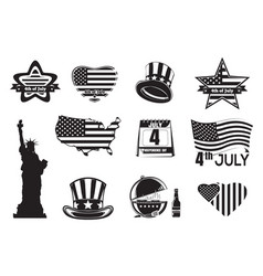 us independence day monochrome icon set vector image