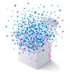 White open box flying stars vector image vector image