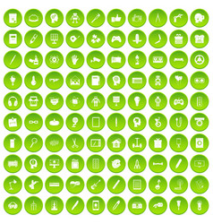 100 creative idea icons set green circle vector