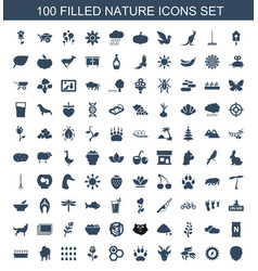 100 nature icons vector