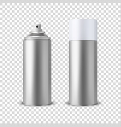 3d realistic silver blank spray can spray vector image