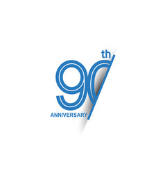 90 anniversary blue cut style isolated on white vector