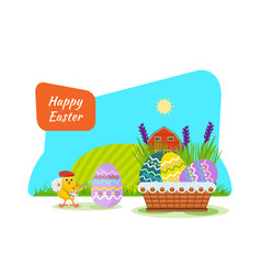 A nestling painting easter eggs with brush paint vector