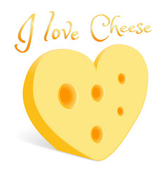 a piece of cheese in the form of a heart vector image