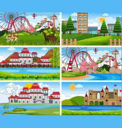 A set outdoor scene including funfair vector