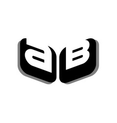 ab a b letter logo design in black colors vector image