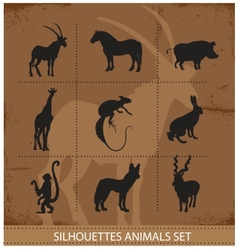 abstract symbols of animals silhouette vector image