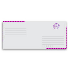 Air mail envelope with postal stamp isolated vector