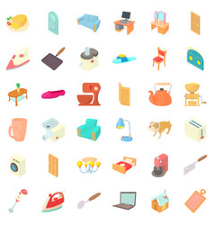 Appliance icons set cartoon style vector