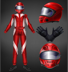 auto race driver protective suit realistic vector image