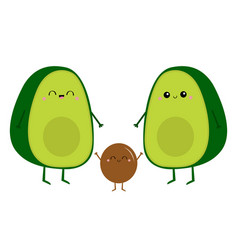 Avocado happy family mother father and baby vector