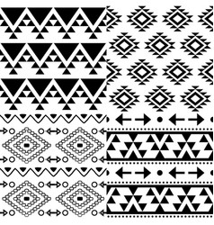 Aztec pattern set tribal background vector