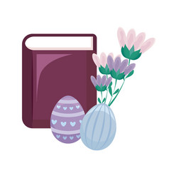 Bible with eggs of easter and flowers vector