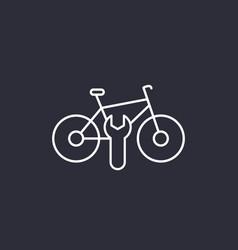 Bicycle bike repair service line icon vector