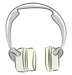 big headphones for music color on white background vector image
