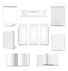big set paper book and banner isolated white vector image