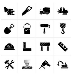 Black building and construction tools icons vector