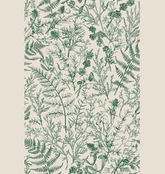 Botanical seamless hand-drawn pattern vector