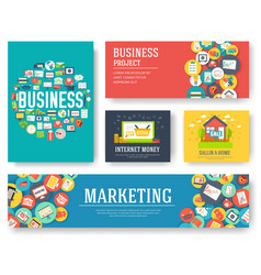 business elements cards set marketing template of vector image