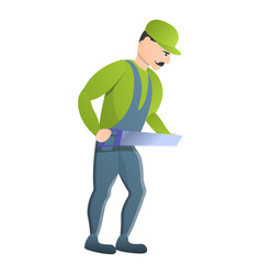 Carpenter take hand saw icon cartoon style vector