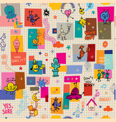 cartoon characters fun seamless pattern vector image