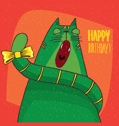 Cat yawns and inscription happy birthday vector