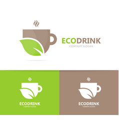 Coffee and leaf logo combination drink vector