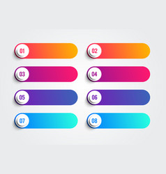 colorful bullet points with numbers 1 to 8 vector image