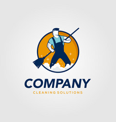 creative man cleaning concept logo design template vector image